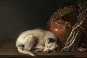 Gerrit_Dou_(Dutch,_1613–1675),_Sleeping_Dog,_1650._Oil_on_panel